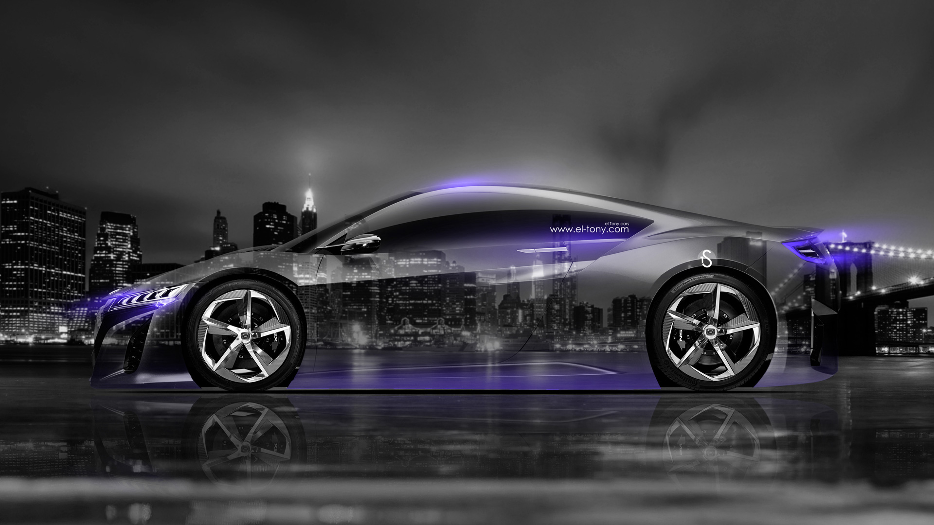 Honda NSX Side Crystal City Car 2014 Violet
