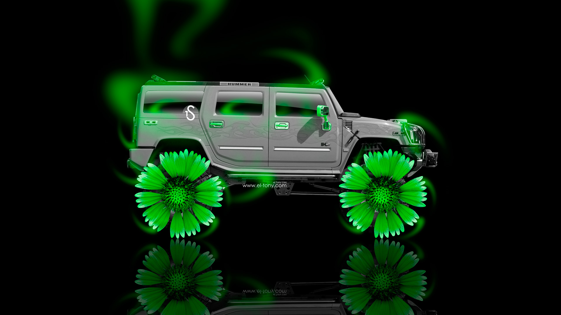 Exceptionnel ... Hummer H2 Fantasy Neon Flowers Car 2014 Green  ...