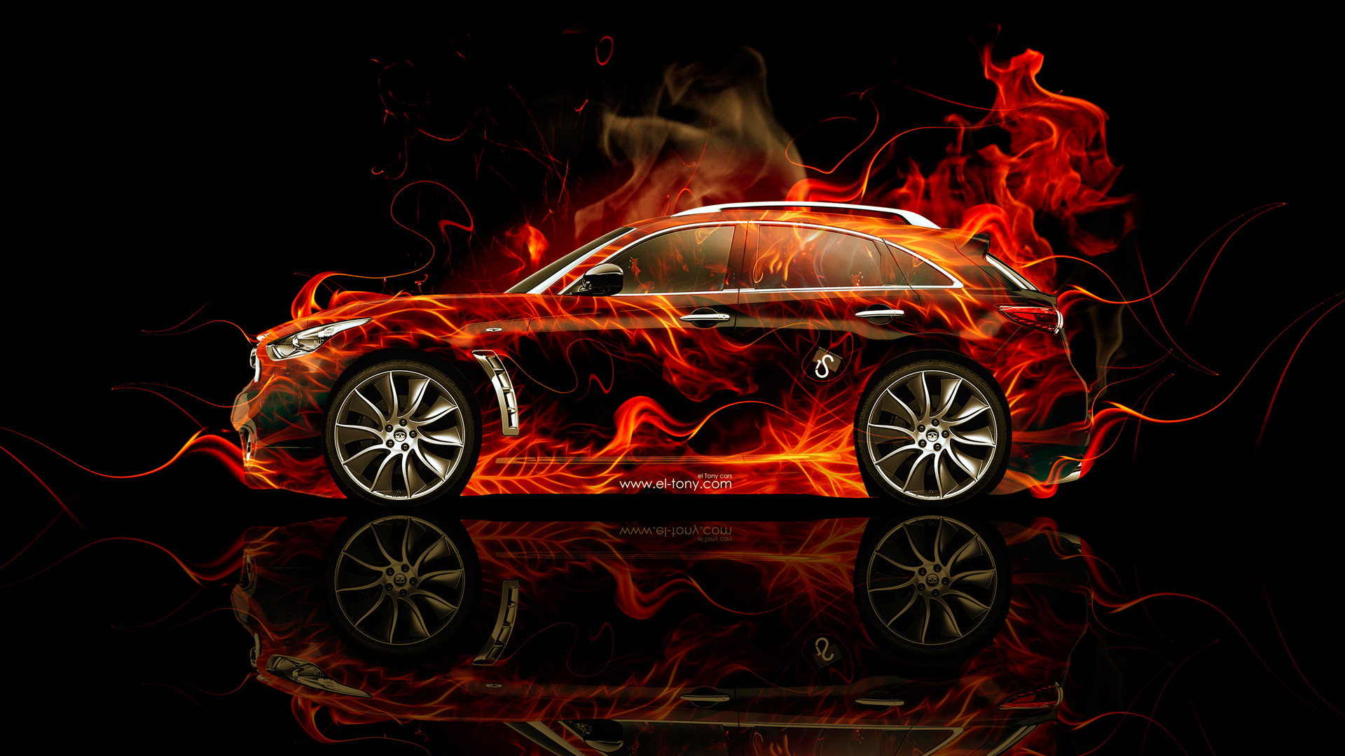 Ordinaire ... Infiniti FX Side Fire Abstract Car 2014