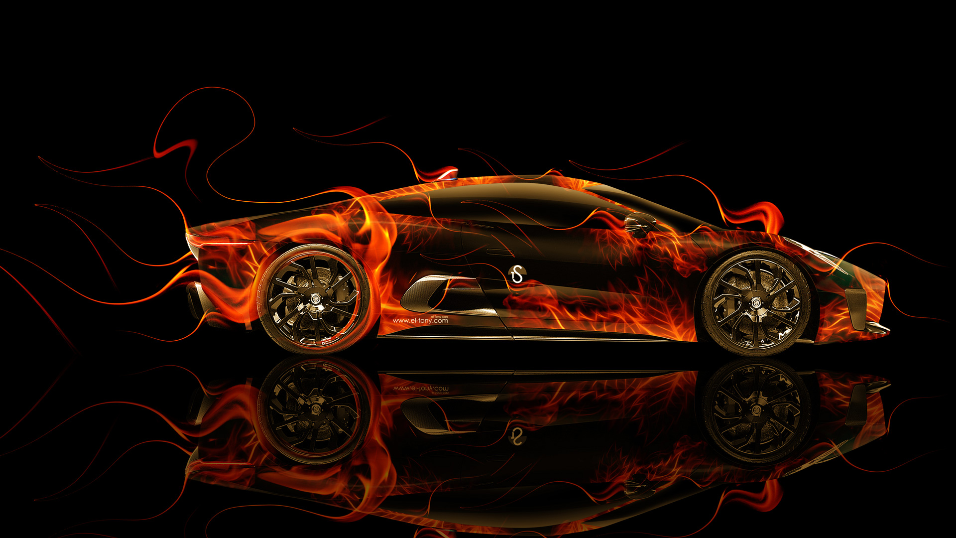 Jaguar CX 75 Side Fire Abstract Car 2014