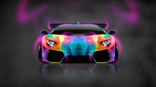 Lamborghini-Aventador-Tuning-Front-Neon-Aerography-Car-2014-Multicolors-Wallpapers-design-by-Tony-Kokhan-[www.el-tony.com]