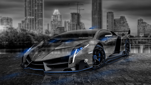 Lamborghini-Veneno-Crystal-City-Car-2014-Photoshop-Art-Blue-Neon-HD-Wallpapers-design-by-Tony-Kokhan-[www.el-tony.com]