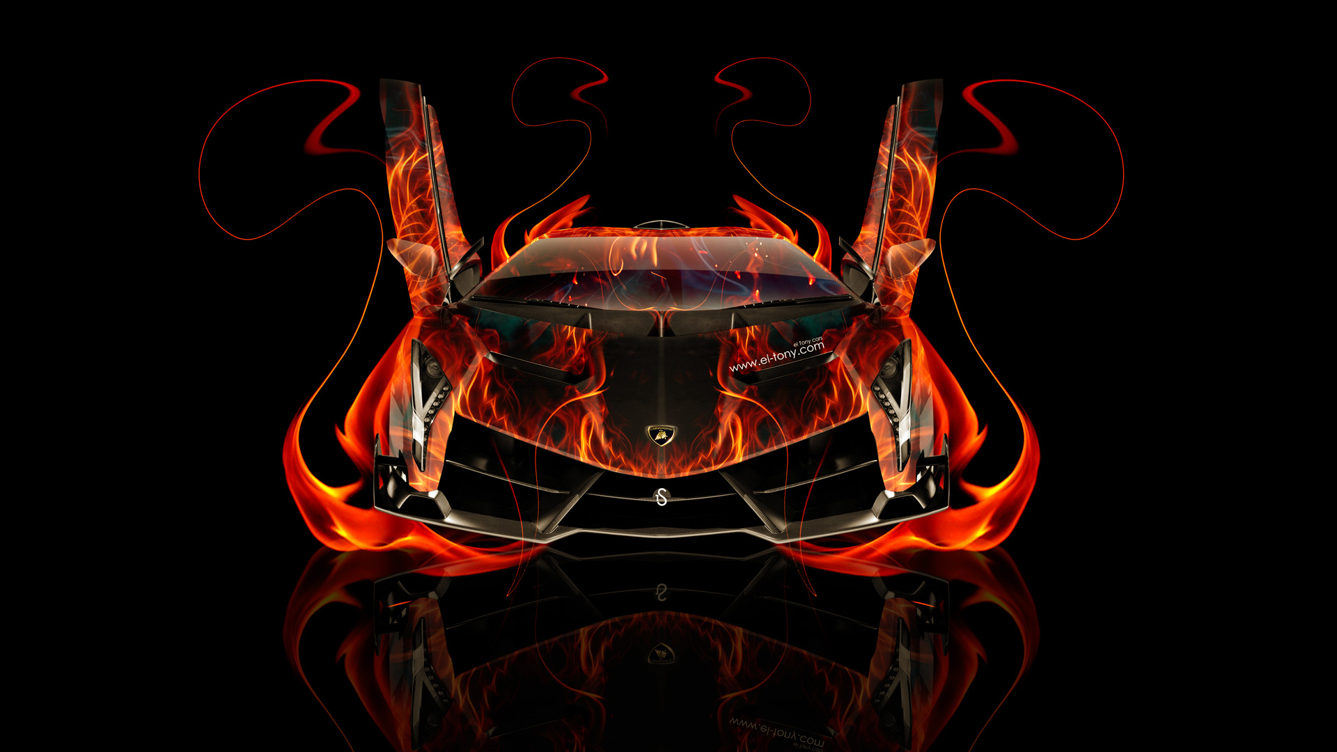 lamborghini veneno front fire abstract car 2014 el tony