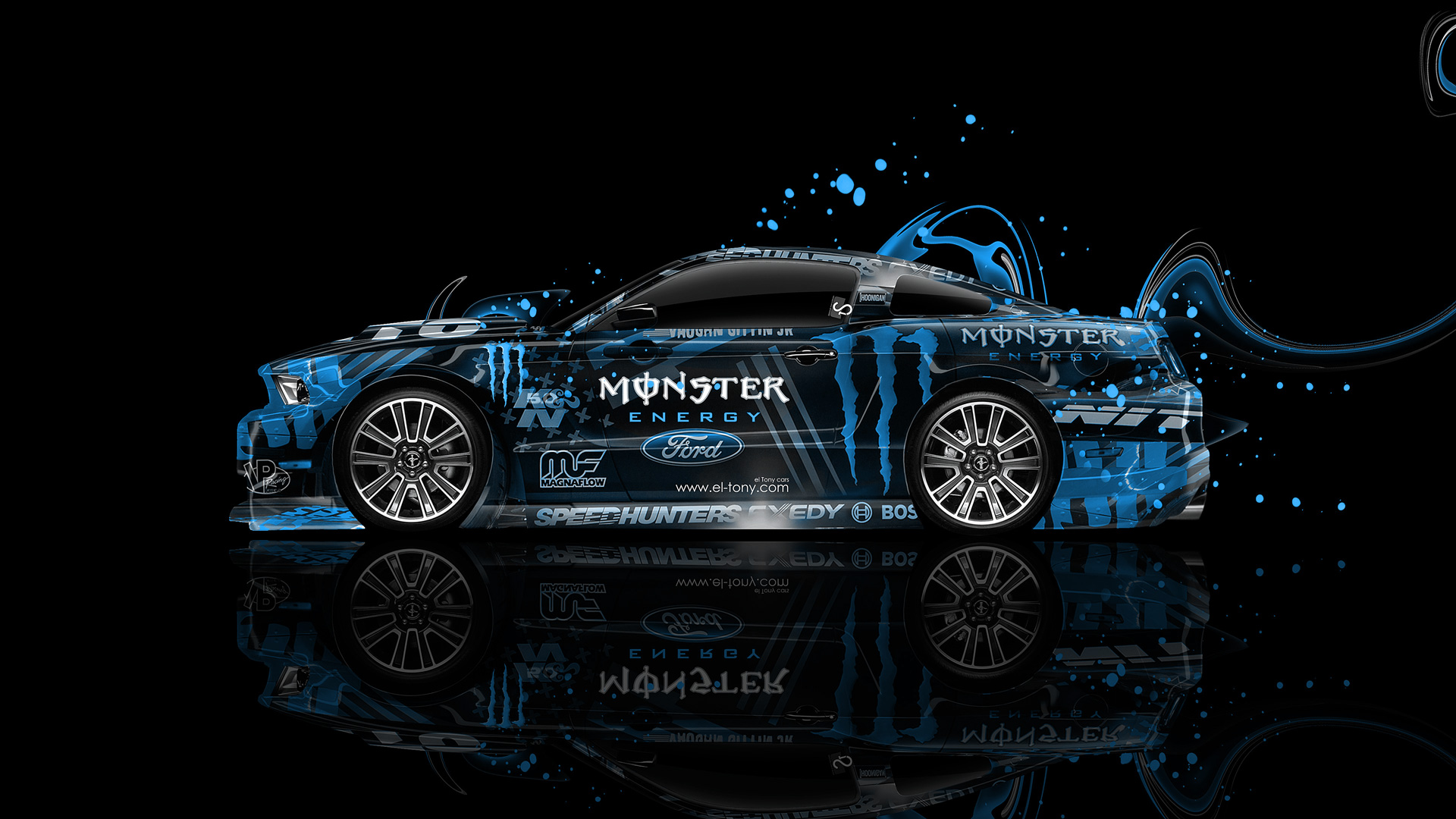 Monster Energy Ford Mustang Gt Side Plastic Car 2014 El Tony