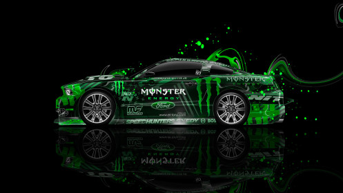 Monster-Energy-Ford-Mustang-GT-Side-Muscle-Plastic-Car-2014-Green-Colors-design-by-Tony-Kokhan-[www.el-tony.com]