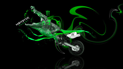Monster-Energy-Moto-Kawasaki-Motocross-KX85-Fantasy-Plastic-Crocodile-Bike-2014-Green-Neon-design-by-Tony-Kokhan-[www.el-tony.com]