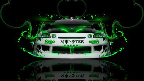 Monster-Energy-Toyota-Soarer-JDM-Front-Plastic-Car-2014-Art-Green-Neon-design-by-Tony-Kokhan-[www.el-tony.com]