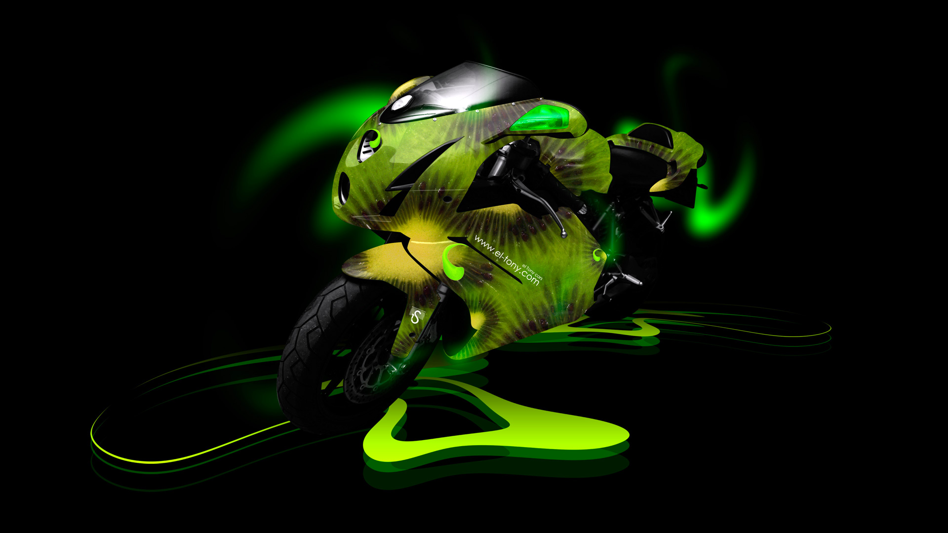 Superieur Moto Ducati 999 Kiwi Aerography Green Neon Bike