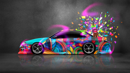 Nissan-Silvia-S13-JDM-Style-Side-Domo-Kun-Toy-Car-2014-Multicolors-HD-Wallpapers-design-by-Tony-Kokhan-[www.el-tony.com]