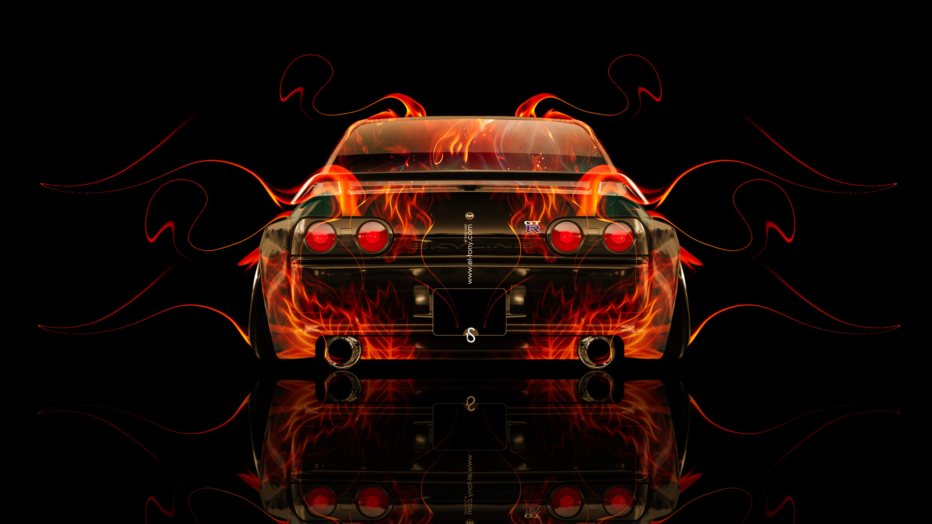 ... Nissan Skyline GTR R32 JDM Back Fire Abstract  ...