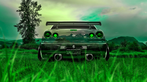 Nissan-Skyline-GTR-R34-JDM-Back-Crystal-Nature-Car-2014-Photoshop-HD-Wallpapers-design-by-Tony-Kokhan-[www.el-tony.com]
