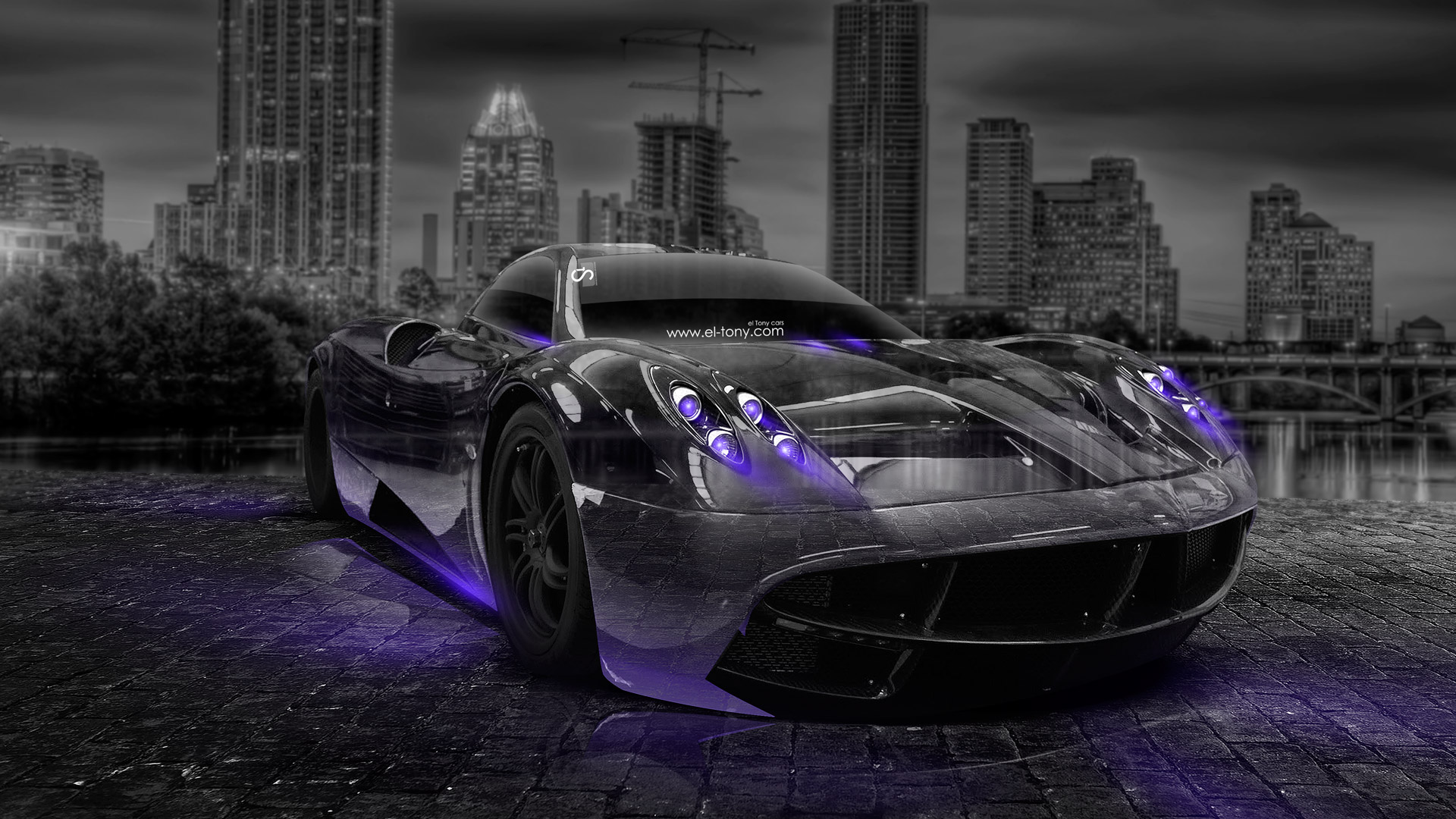 Charming Beau Pagani Huayra Crystal City Car 2014 Violet Neon