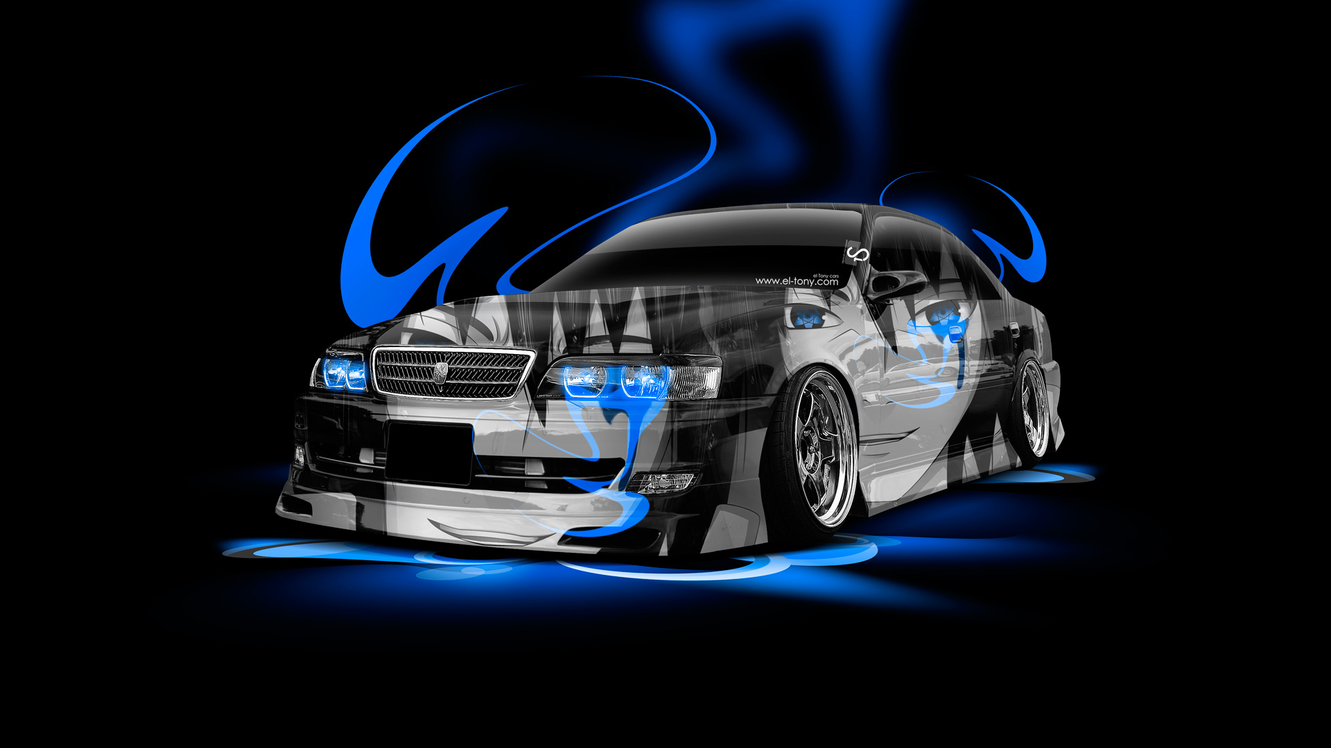 ... JDM Tuning 3D Crystal City. Charmant Toyota Chaser JZX100 Anime  Aerography Car 2014