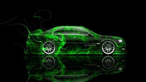 Toyota-Chaser-JZX100-JDM-Side-Art-Green-Fire-Abstract-Car-2014-HD-Wallpapers-design-by-Tony-Kokhan-[www.el-tony.com]