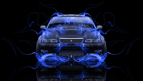 Toyota-Mark2-JZX100-JDM-Tuning-Front-Blue-Fire-Abstract-Car-2014-HD-Wallpapers-design-by-Tony-Kokhan-[www.el-tony.com]