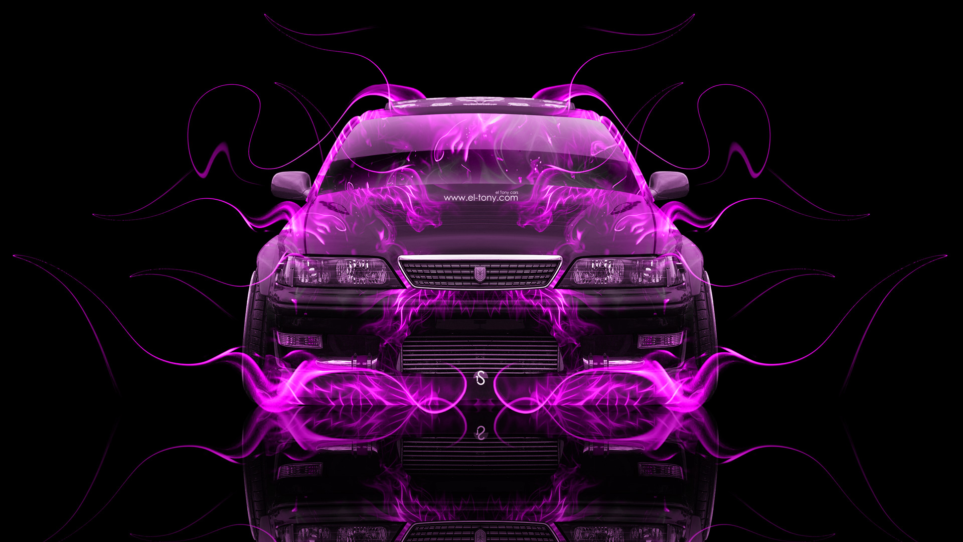 Toyota Mark2 JZX100 JDM Tuning Front Pink Fire .