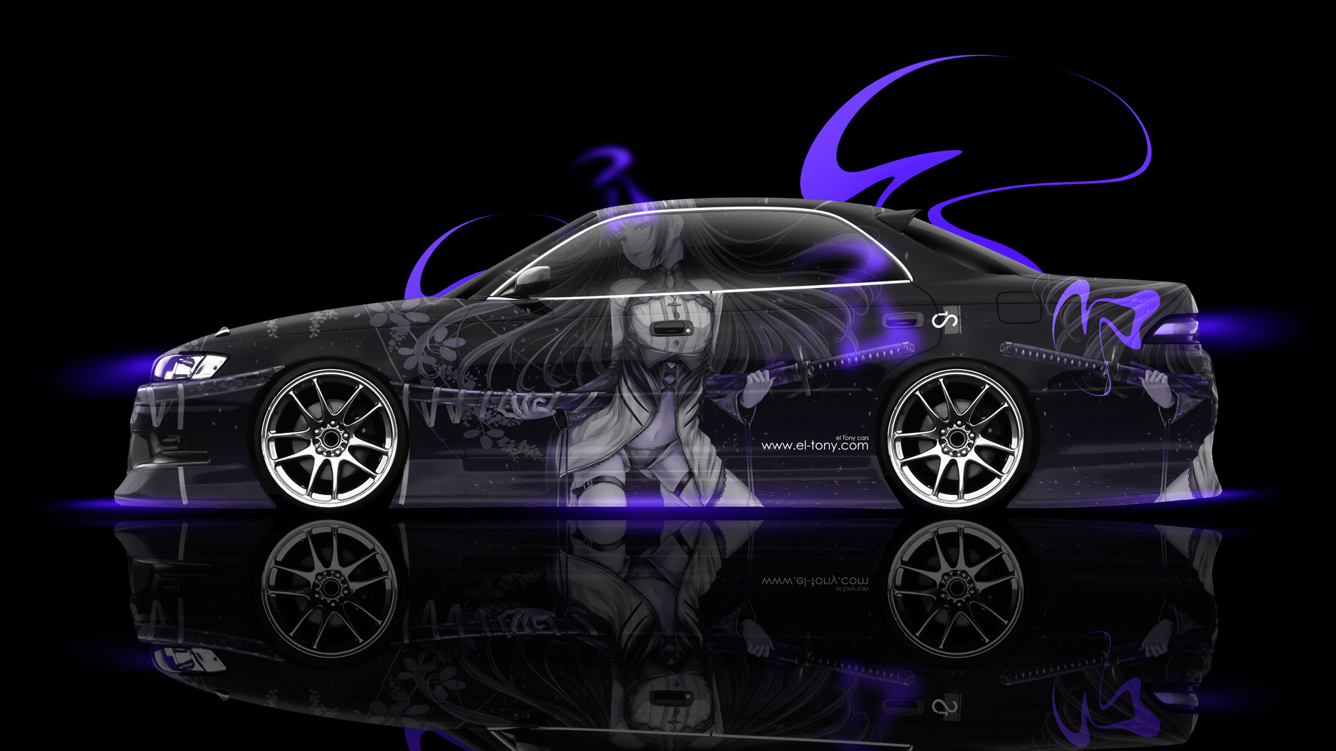 Charmant Toyota Mark2 JZX90 Side Anime Girl Samurai Aerography Car 2014