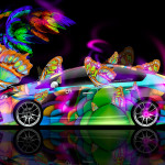 Toyota Prius Hybrid Fantasy Butterfly Neon Car 2014