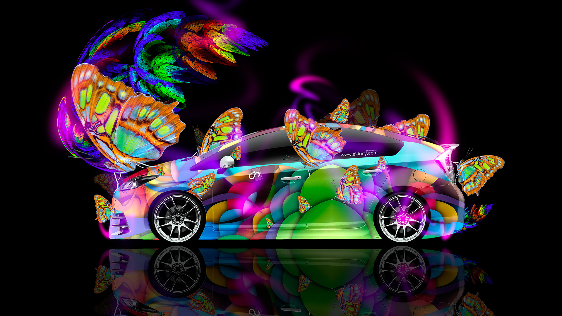 Amazing Superbe Toyota Prius Hybrid Fantasy Side Butterfly Neon Car