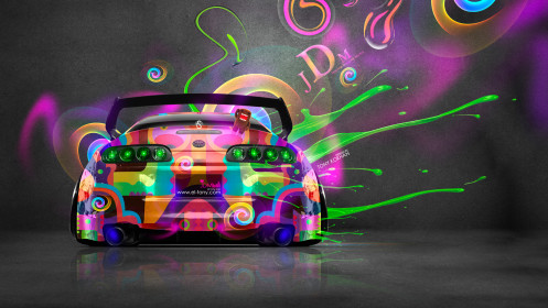 Toyota-Supra-Back-JDM-Style-Domo-Kun-Toy-Car-2014-Multicolors-HD-Wallpapers-design-by-Tony-Kokhan-[www.el-tony.com]