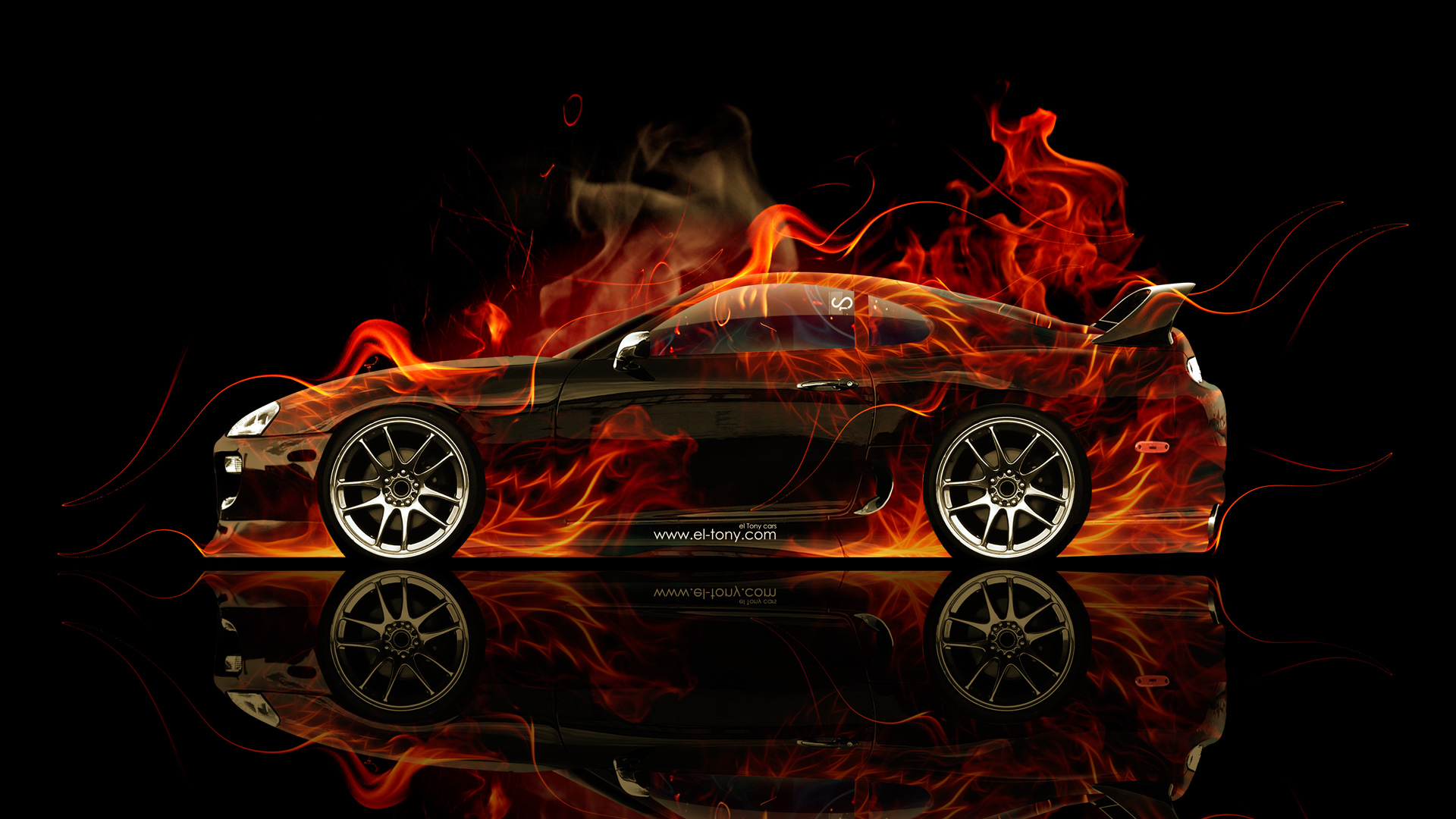 Toyota Supra JDM Side Fire Abstract Car 2014