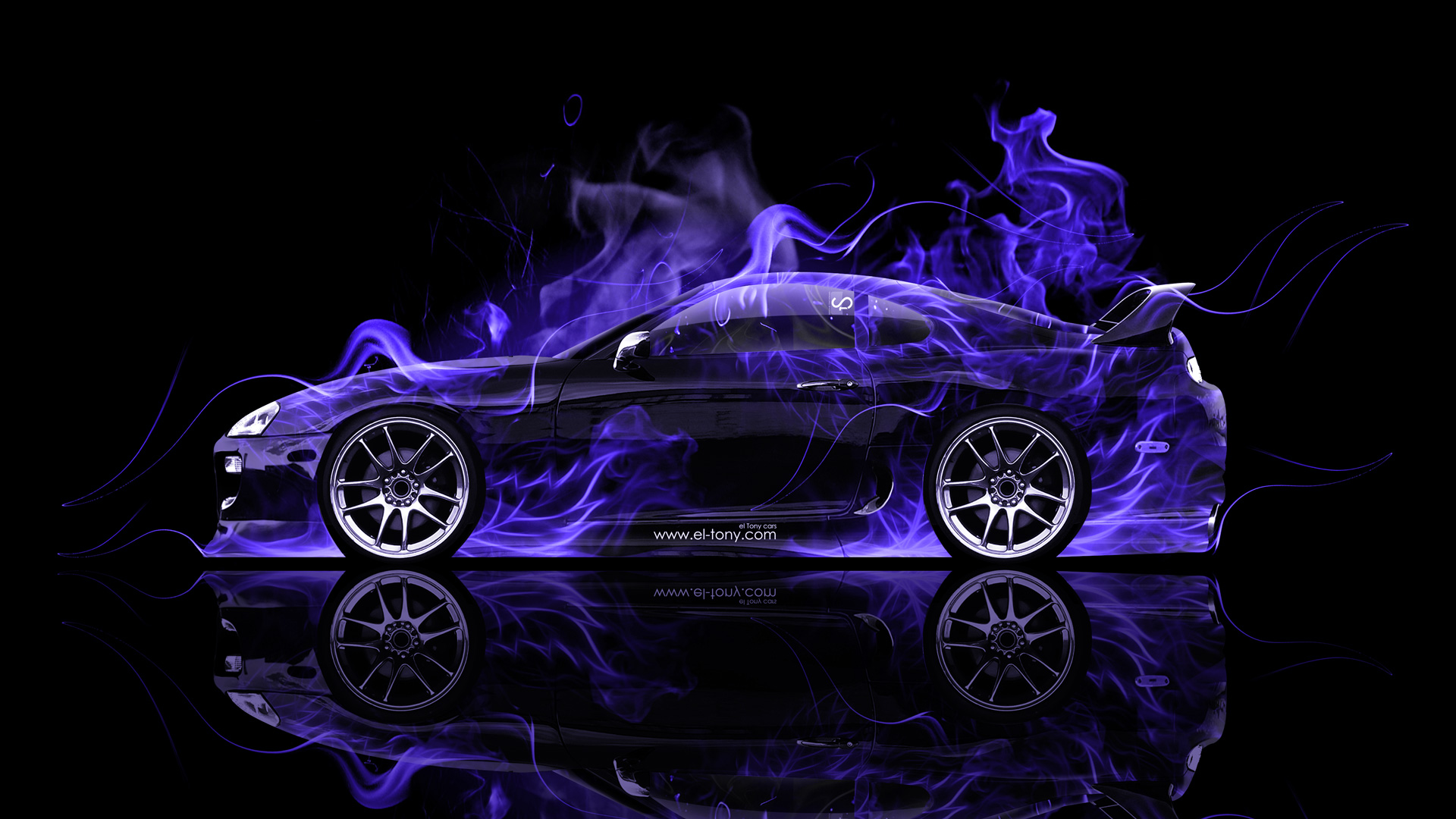 Toyota Supra JDM Side Violet Fire Abstract Car .