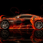 Aston Martin Vanquish Side Fire Abstract Car 2014