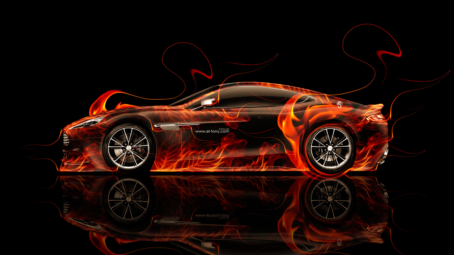 Exceptionnel Aston Martin Vanquish Side Fire Abstract Car 2014