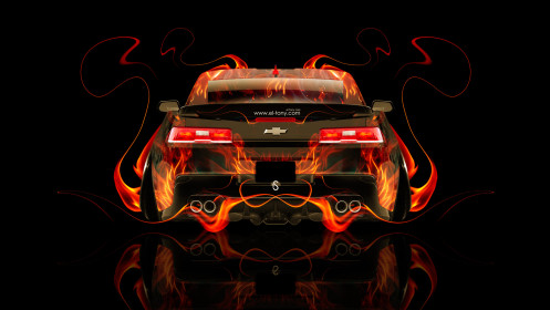 Chevrolet-Camaro-Z28-Muscle-Back-Fire-Abstract-Car-2014-Photoshop-HD-Wallpapers-design-by-Tony-Kokhan-[www.el-tony.com]