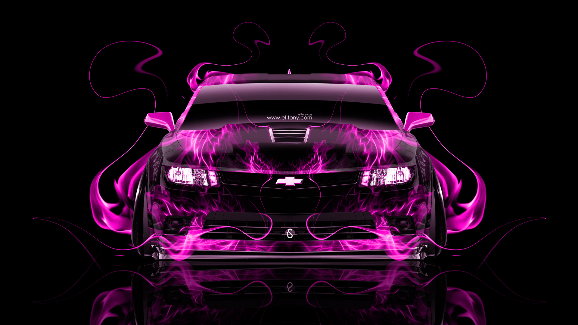 chevrolet camaro z28 muscle front pink fire abstract - Camaro 2014 Z28 Wallpaper