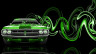 Dodge-Challenger-Muscle-Retro-Front-Super-Plastic-Car-2014-Green-Neon-HD-Wallpapers-design-by-Tony-Kokhan-[www.el-tony.com]