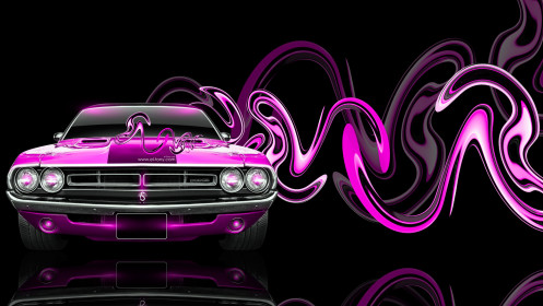 Dodge-Challenger-Muscle-Retro-Front-Super-Plastic-Car-2014-Pink-Neon-HD-Wallpapers-design-by-Tony-Kokhan-[www.el-tony.com]