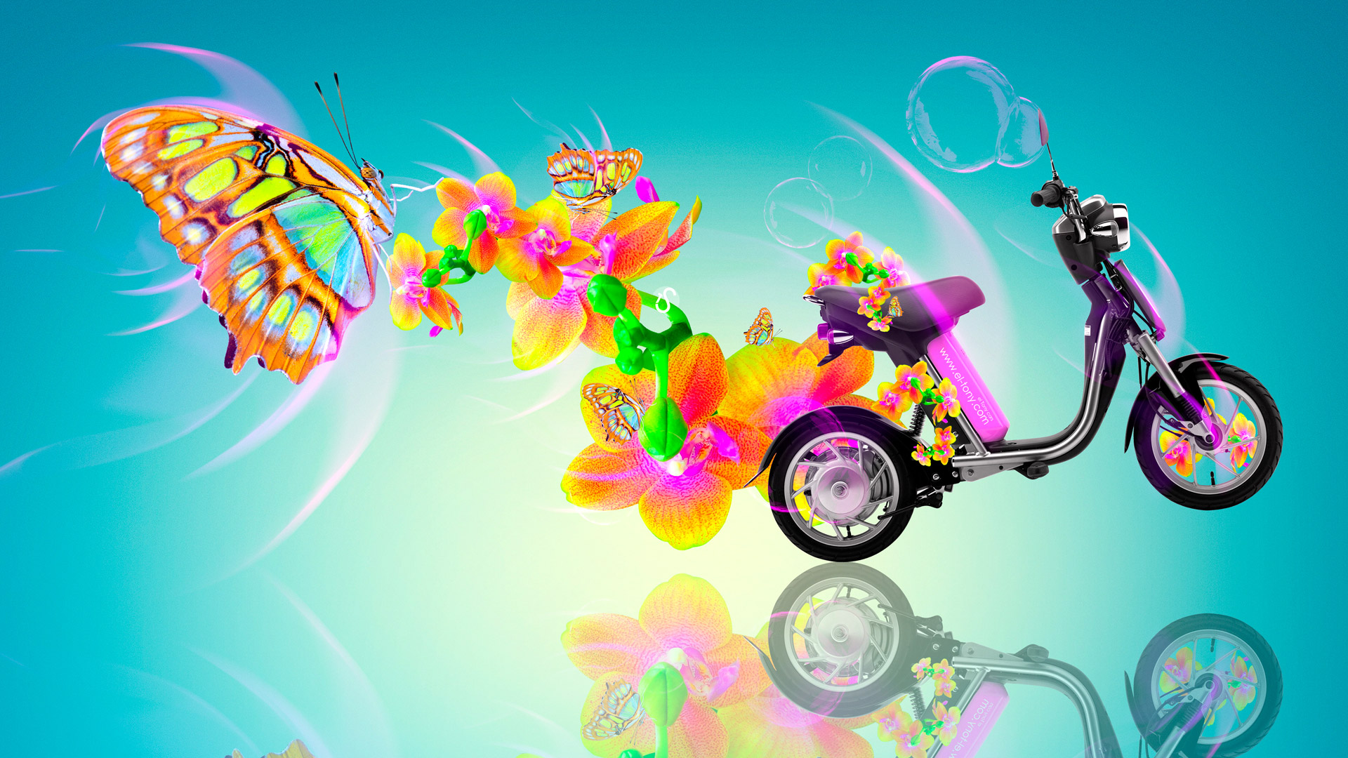 Incroyable Fantasy Mini Moto Butterfly Flowers Bike 2014 Multicolors