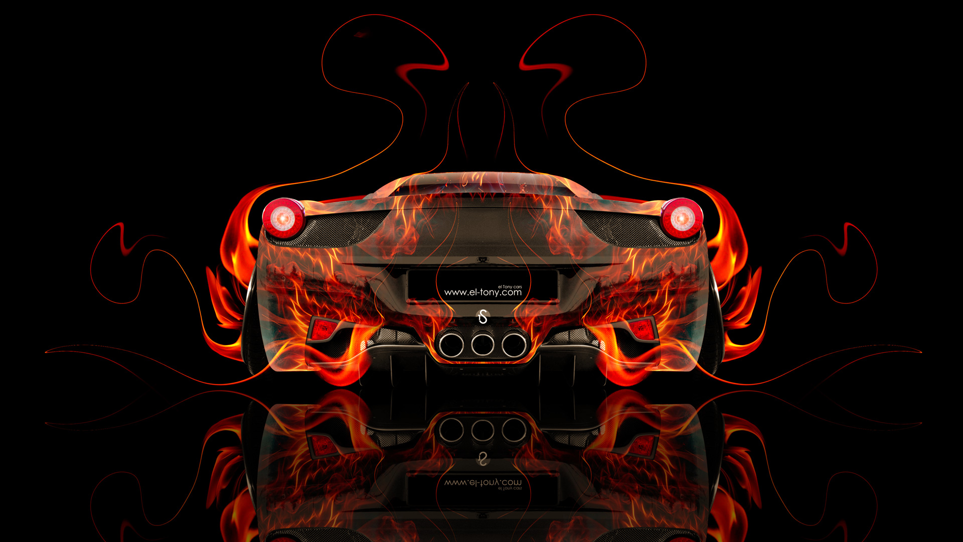 ... Ferrari 458 Italia Back Fire Abstract Car 2014