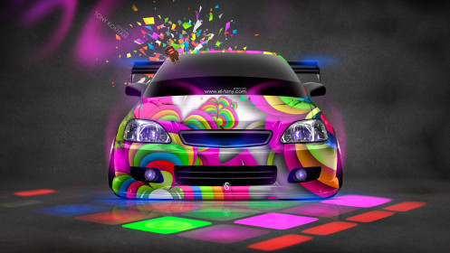 Honda-Civic-JDM-Style-Domo-Kun-Toy-Car-2014-Multicolors-HD-Wallpapers-design-by-Tony-Kokhan-[www.el-tony.com]
