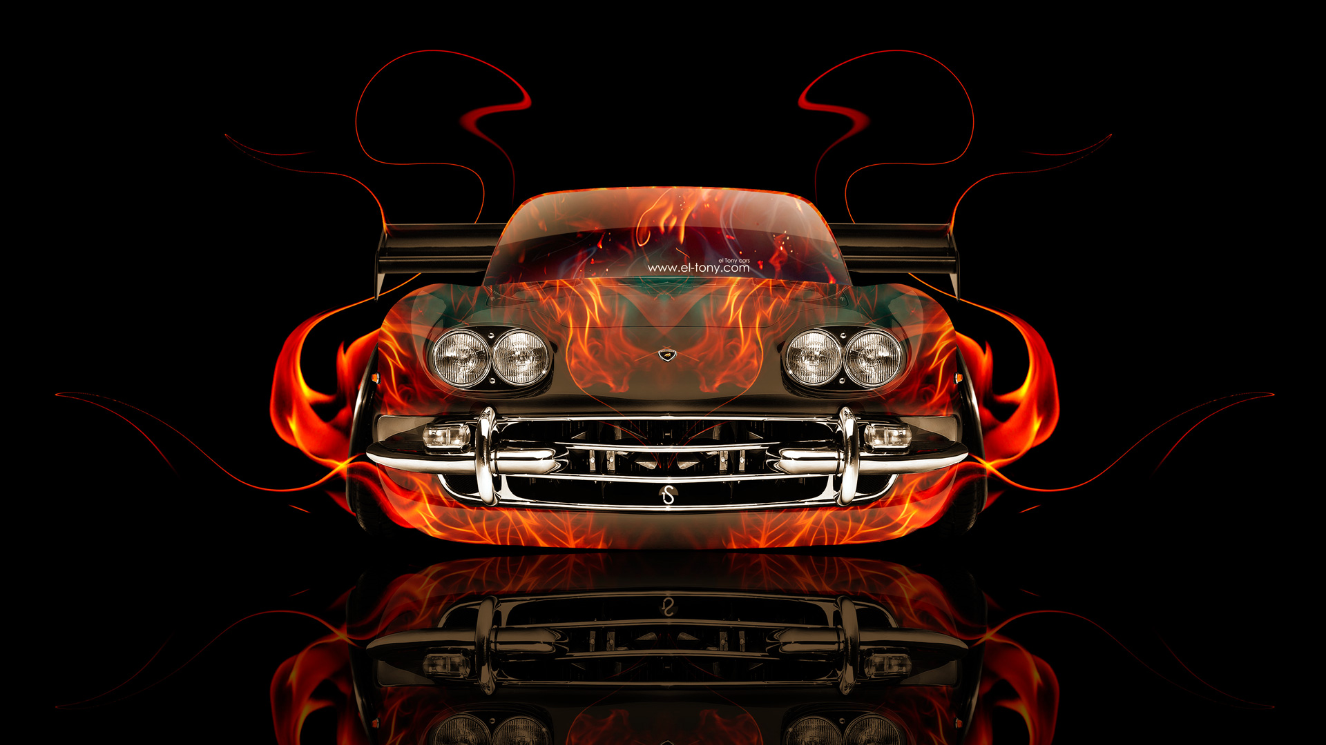 Superbe Lamborghini 400 GT Front Fire Abstract Car 2014