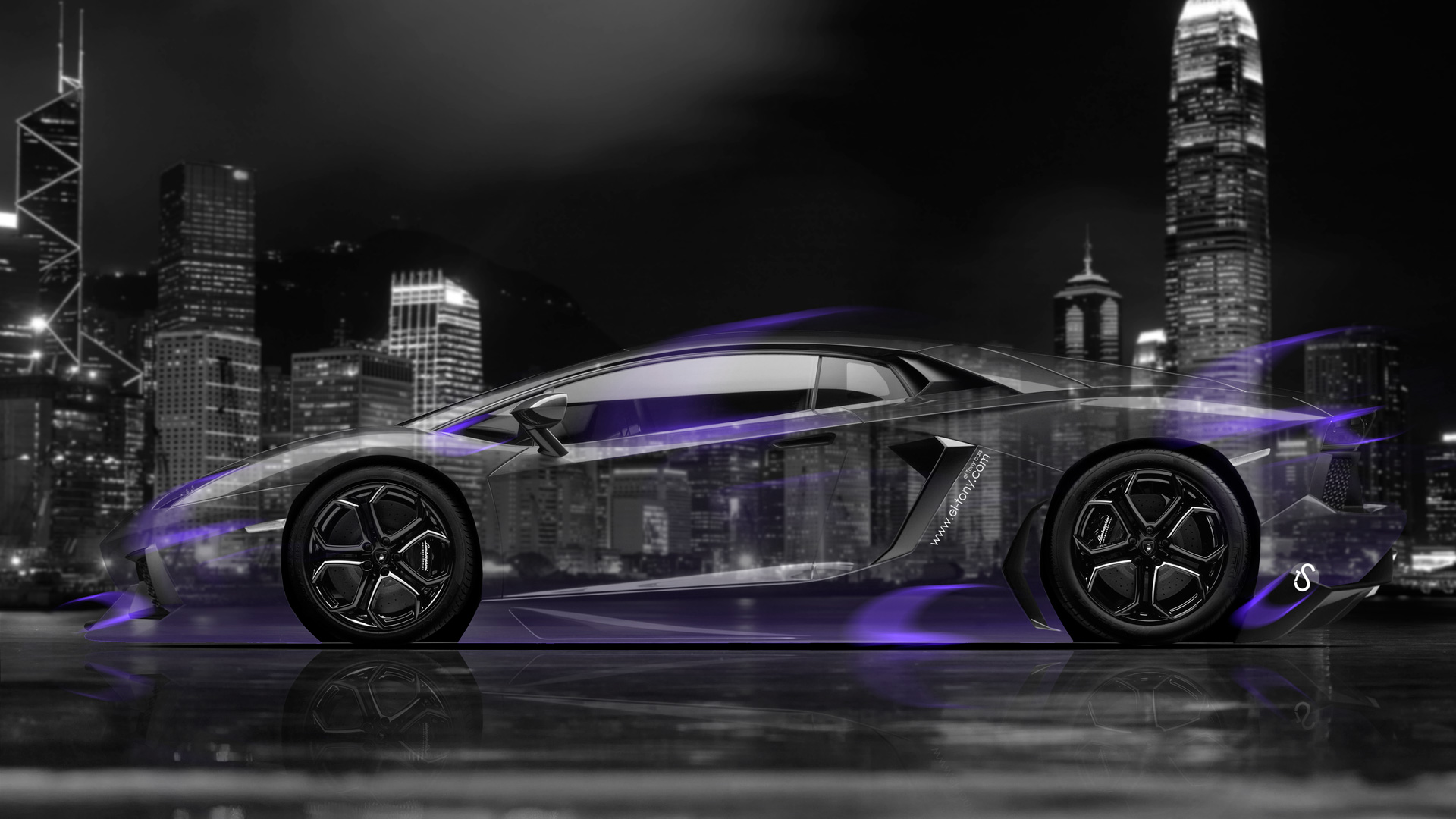 Wonderful Lamborghini Aventador Side Crystal City Car 2014 Art