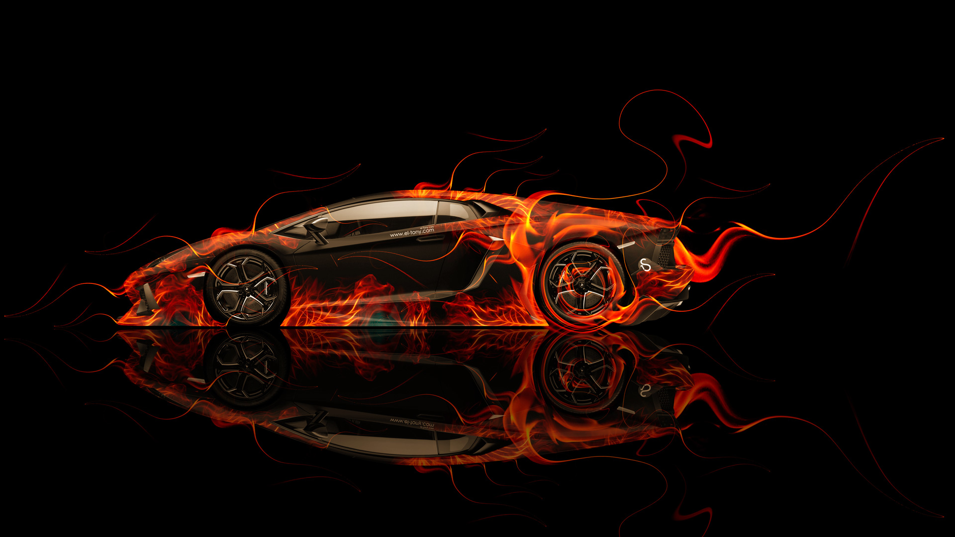 Lamborghini Aventador Side Fire Abstract Car 2014