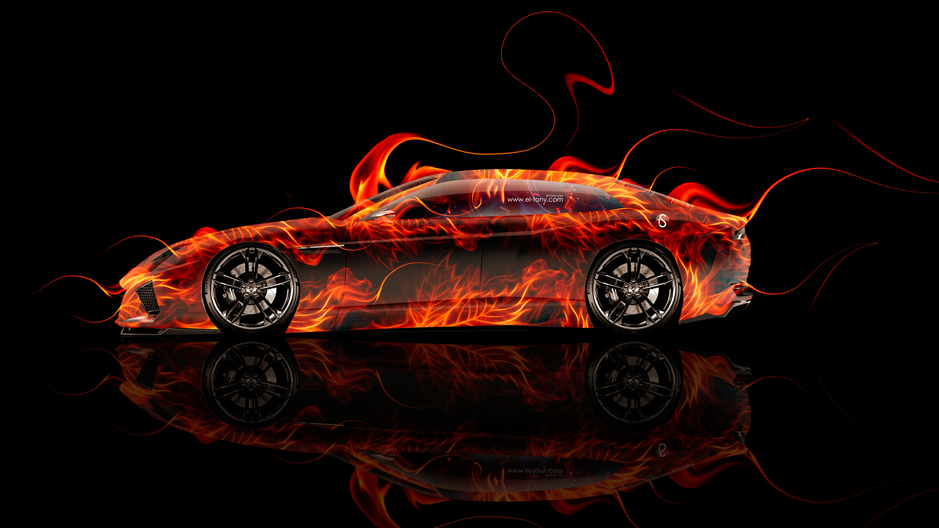High Quality Lamborghini Estoque Side Fire Abstract Car 2014 HD