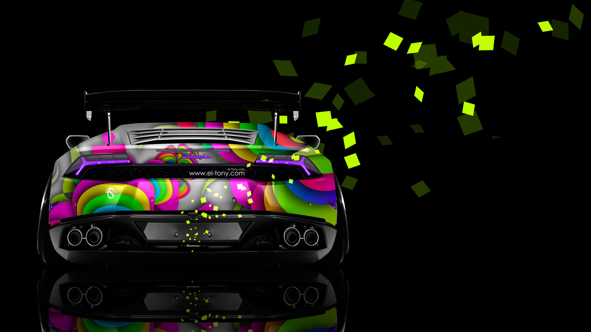 Charming Lamborghini Huracan Back Abstract Aerography Car 2014 Photoshop