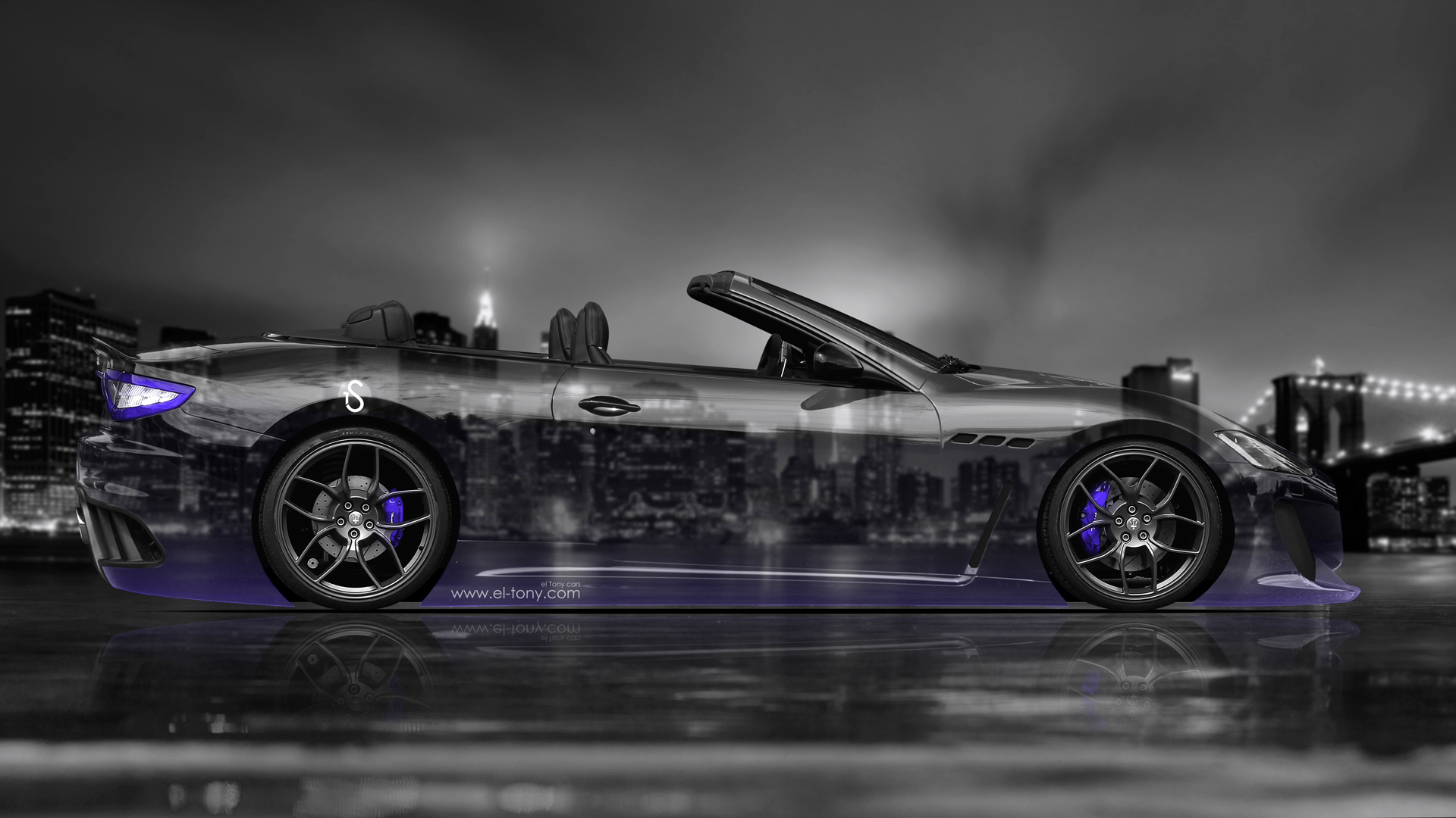 Marvelous Incroyable Maserati GranCabrio Side Crystal City Car 2014 Violet