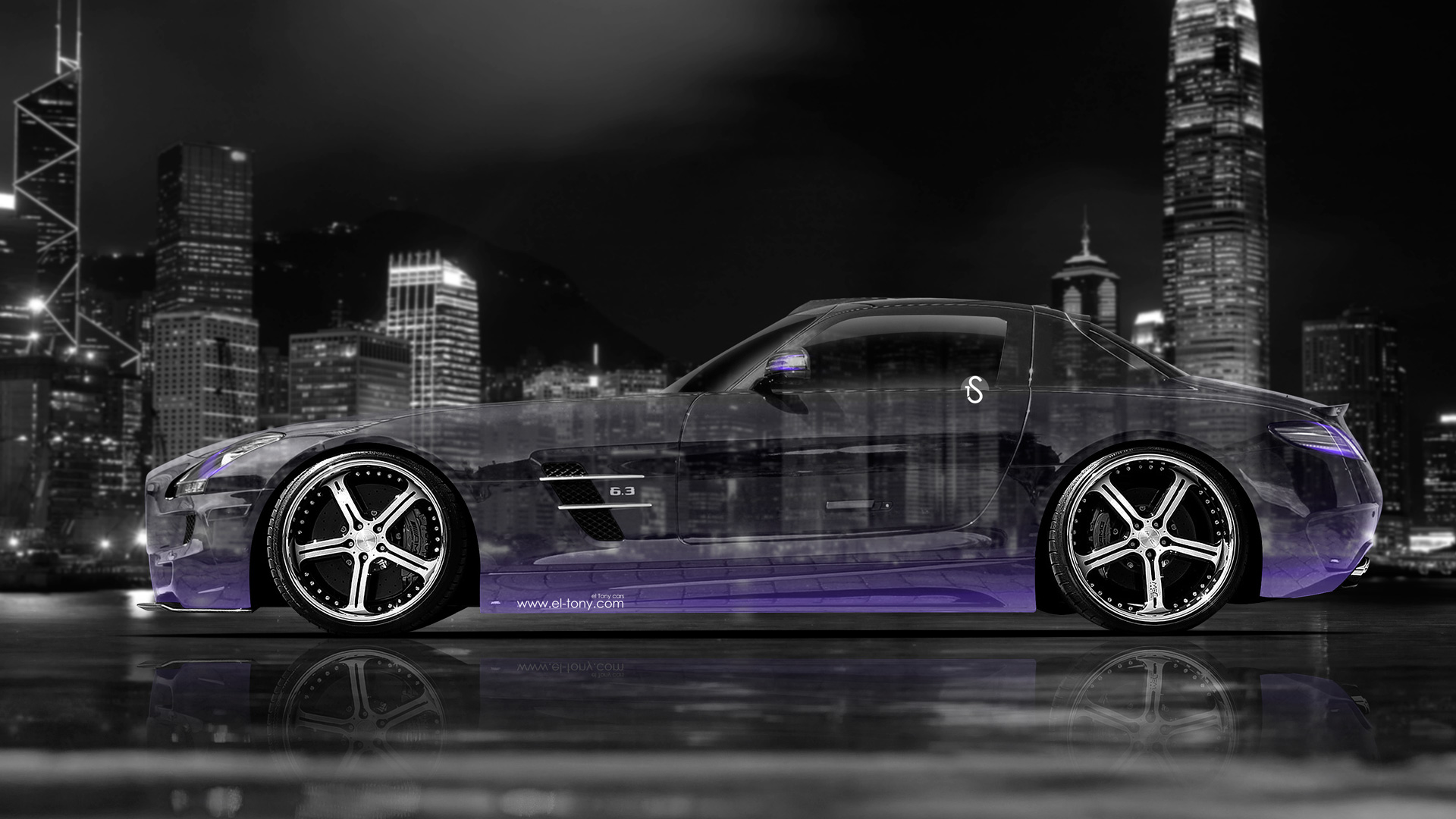 Mercedes SLS AMG Side Crystal City Car 2014
