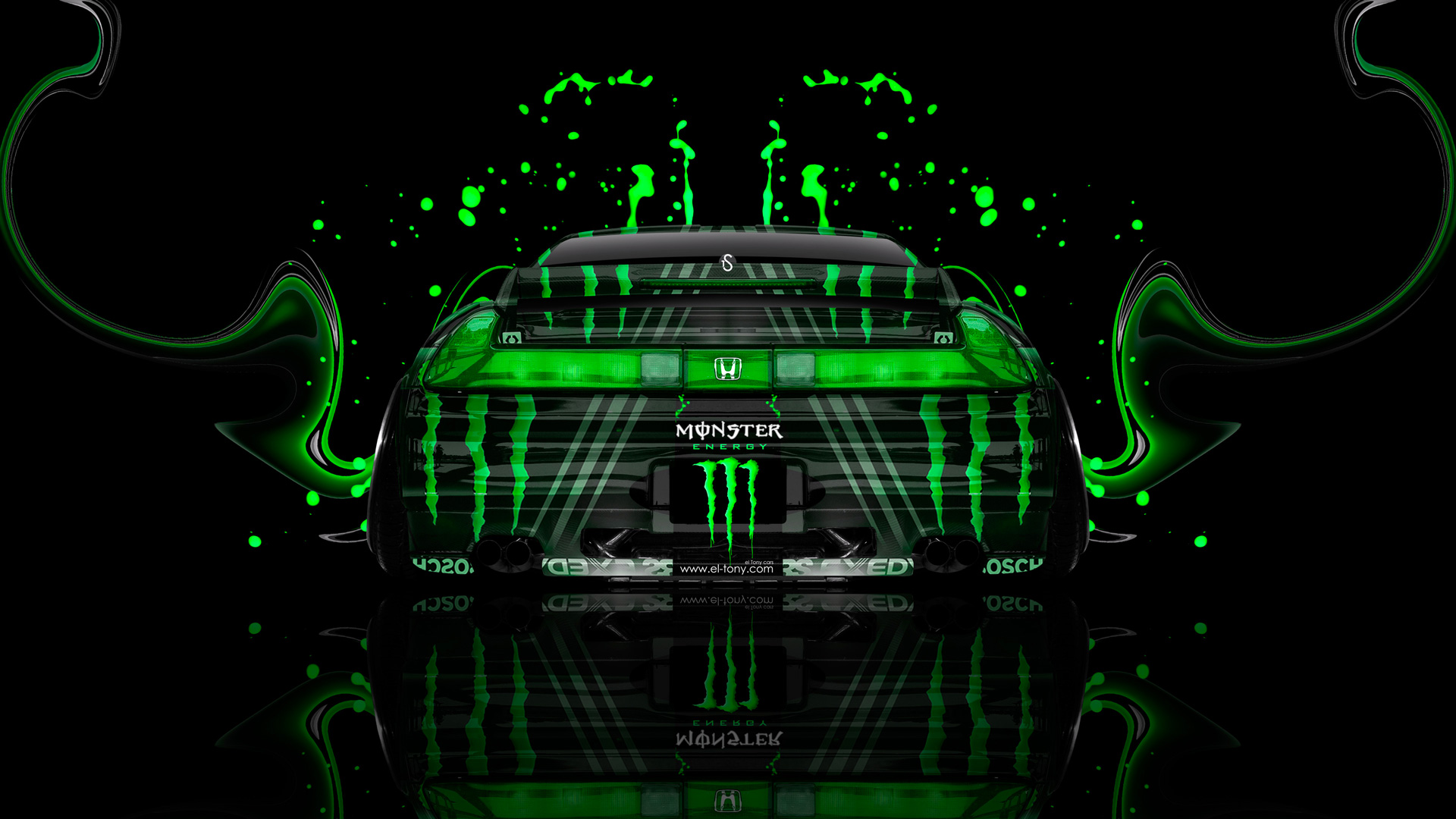 Merveilleux Monster Energy Honda NSX JDM Back Green Plastic