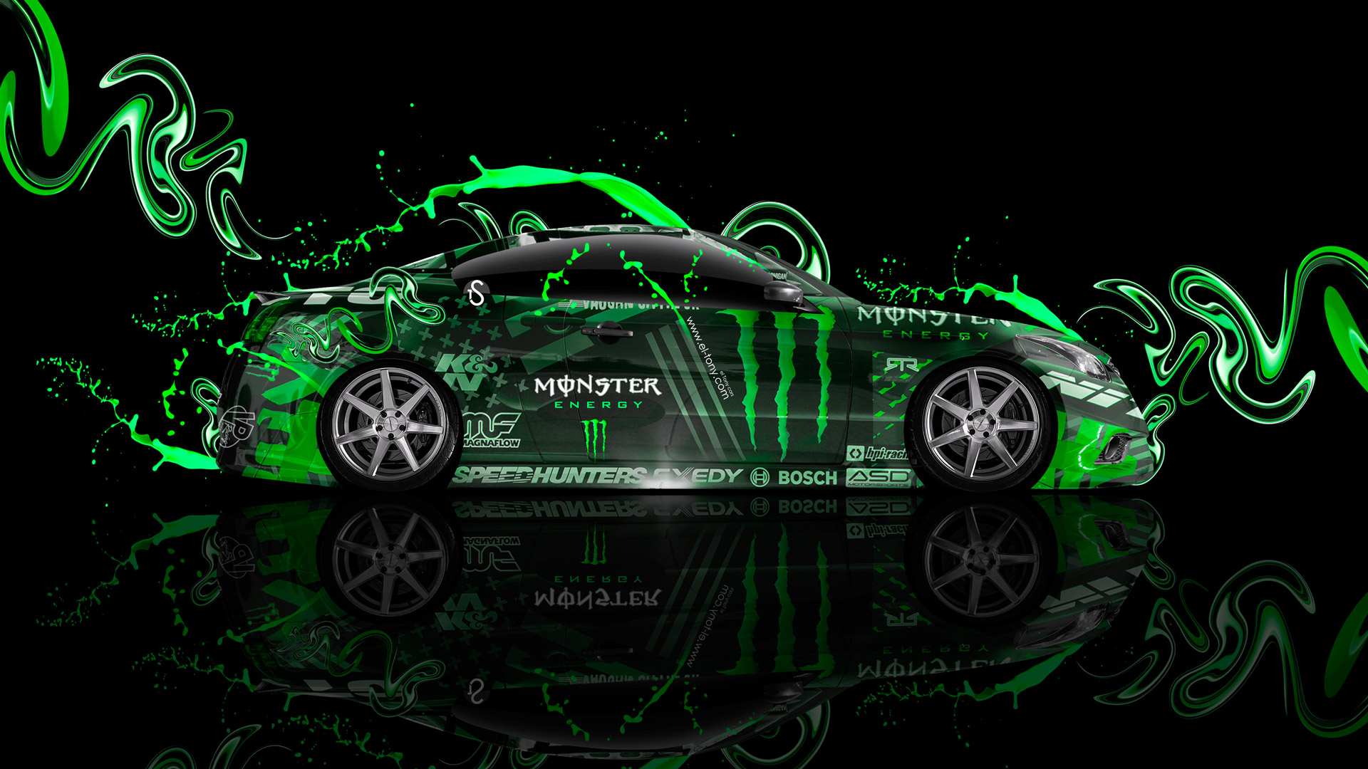 Monster Energy Infiniti G37 Side Plastic Green Live