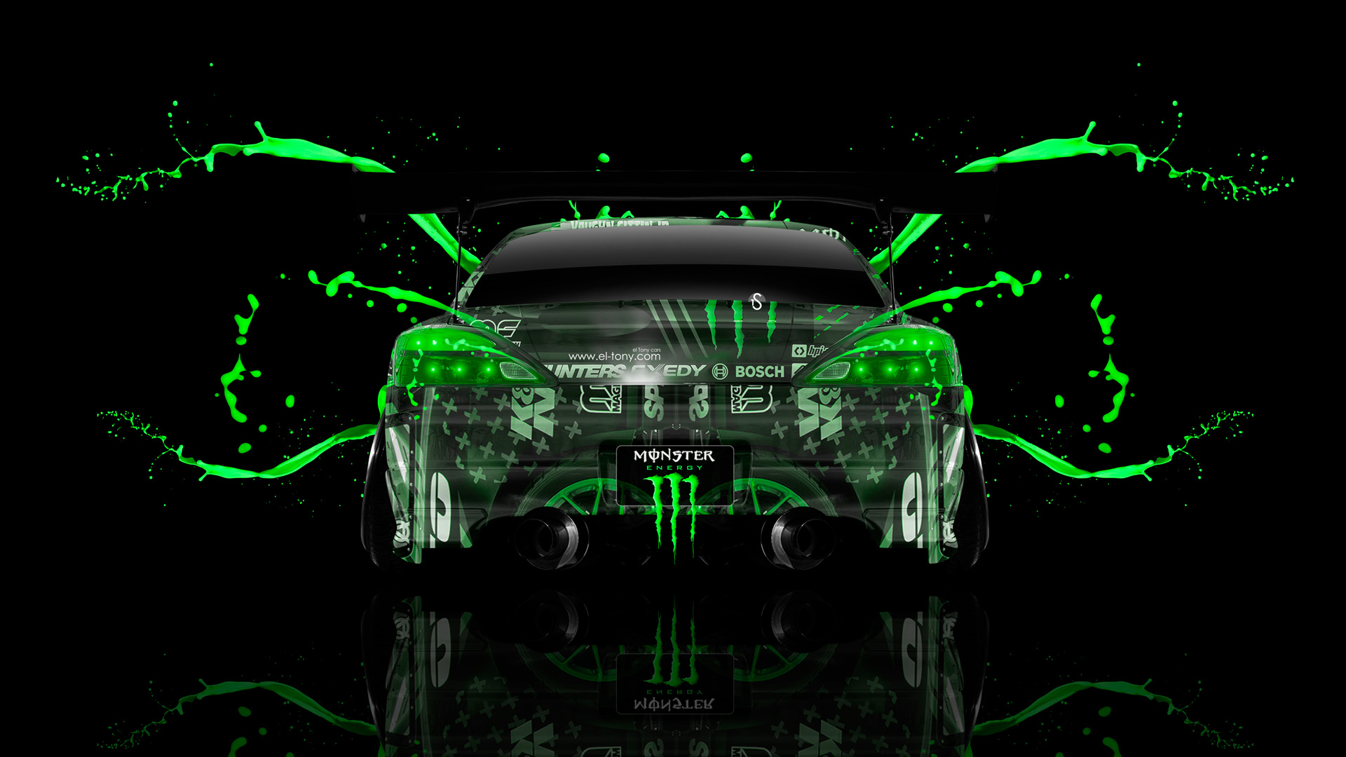 Monster Energy Nissan Silvia S15 JDM Back Green