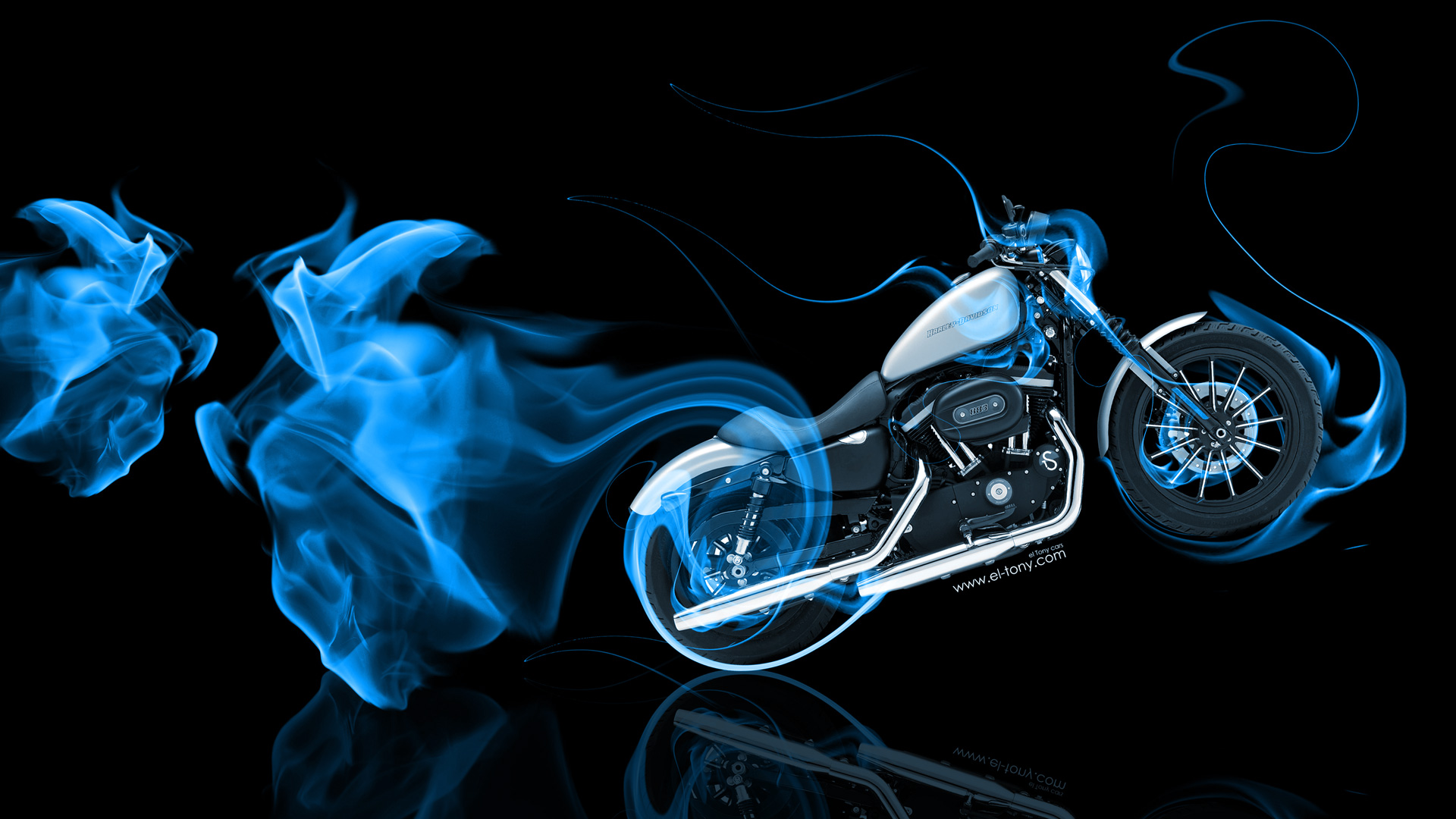 Moto Harley Davidson Side Super Blue Fire Bike .