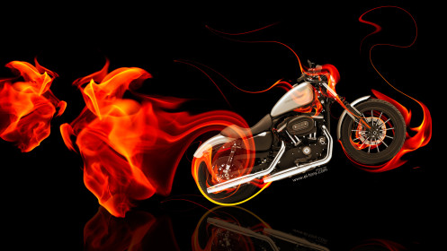Moto-Harley-Davidson-Side-Super-Fire-Bike-2014-HD-Wallpapers-design-by-Tony-Kokhan-[www.el-tony.com]