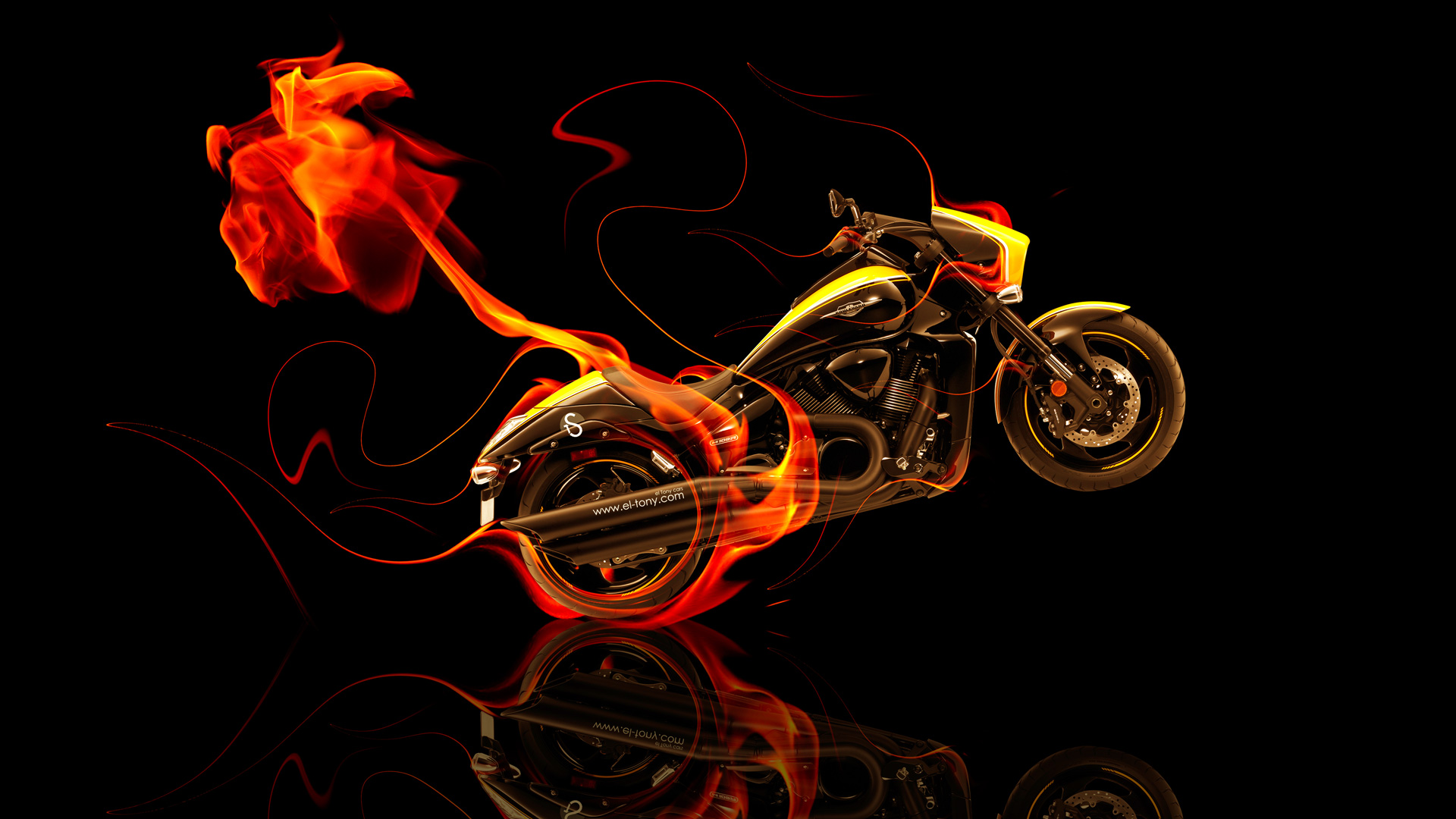 Beau Moto Suzuki M109 Side Fire Abstract Bike 2014