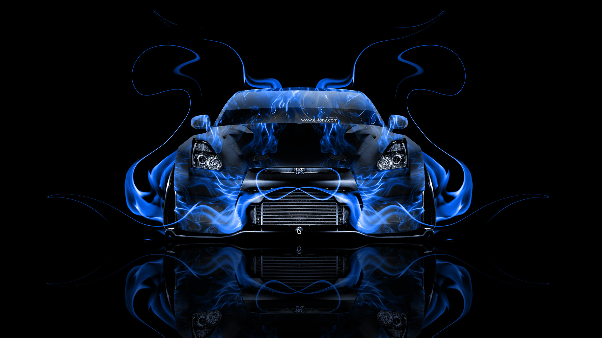 Nissan GTR R35 Tuning Front Blue Fire Car .