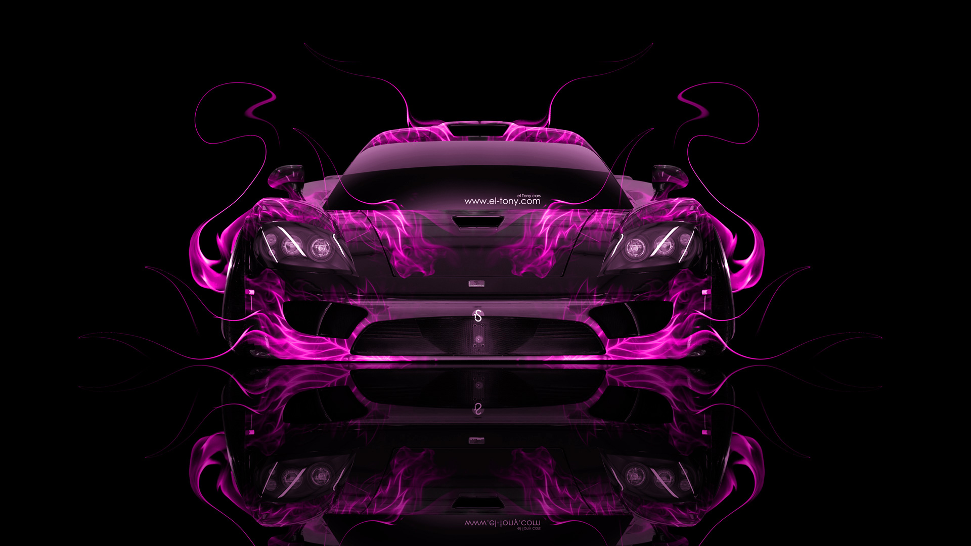 Saleen S7 Front Fire Abstract Car 2014 El Tony